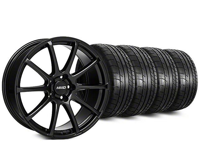 Staggered MMD Axim Gloss Black Wheel & Mickey Thompson Tire Kit - 20 in. - 2 Rear Options (15-18 All)