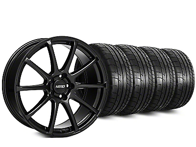 Staggered MMD Axim Gloss Black Wheel & Mickey Thompson Tire Kit - 20 in. - 2 Rear Options (15-19 All)