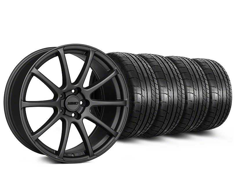 Staggered MMD Axim Charcoal Wheel & Mickey Thompson Tire Kit - 20 in. - 2 Rear Options (15-18 GT, EcoBoost, V6)