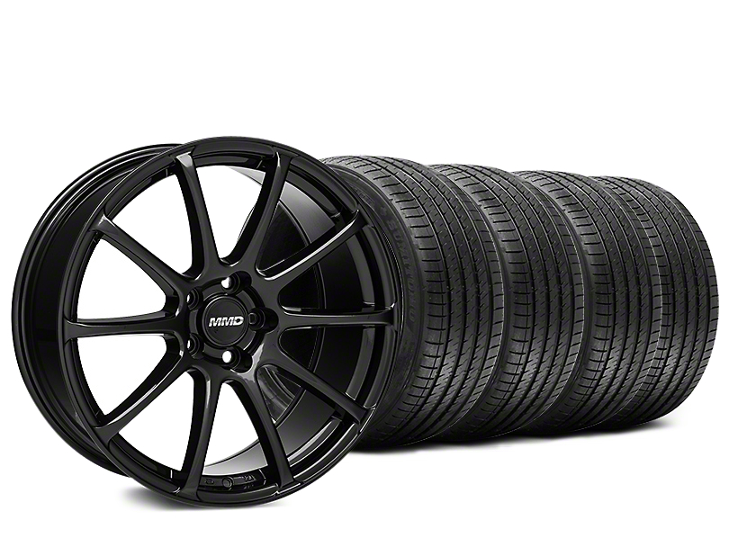 Staggered MMD Axim Gloss Black Wheel & Sumitomo Tire Kit - 20x8.5/10 (15-18 GT, EcoBoost, V6)