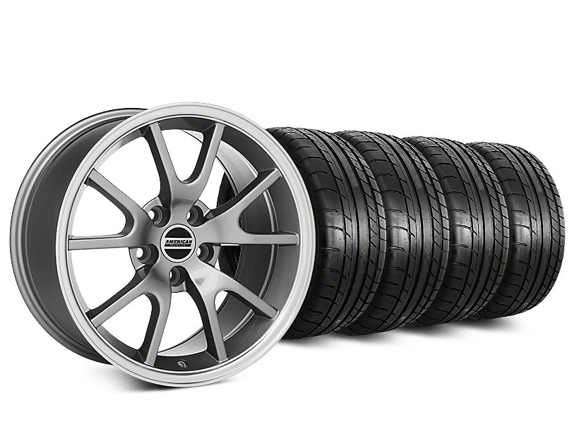 Staggered FR500 Style Anthracite Wheel & Mickey Thompson Tire Kit - 20 in. - 2 Rear Options (15-18 All)