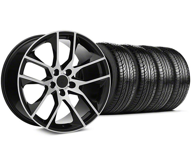 Staggered Magnetic Style Black Machined Wheel & Pirelli Tire Kit - 19x8.5/10 (15-19 GT, EcoBoost, V6)