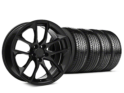 Staggered Magnetic Style Black Wheel & Pirelli Tire Kit - 19x8.5/10 (15-18 GT, EcoBoost, V6)