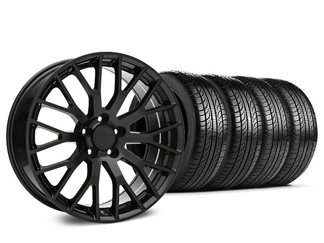 Staggered Performance Pack Style Black Wheel & Pirelli Tire Kit - 19x8.5 (15-18 GT, EcoBoost, V6)