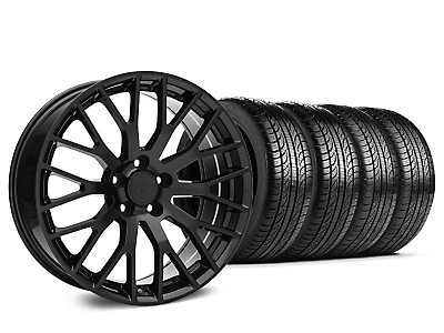Staggered Performance Pack Style Black Wheel & Pirelli Tire Kit - 19x8.5 (15-19 GT, EcoBoost, V6)