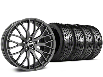Staggered Performance Pack Style Charcoal Wheel & Pirelli Tire Kit - 19x8.5 (15-18 All)