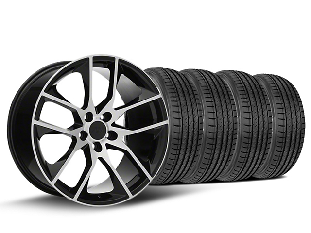 Staggered Magnetic Style Black Machined Wheel & Sumitomo Tire Kit - 19x8.5 (15-19 GT, EcoBoost, V6)