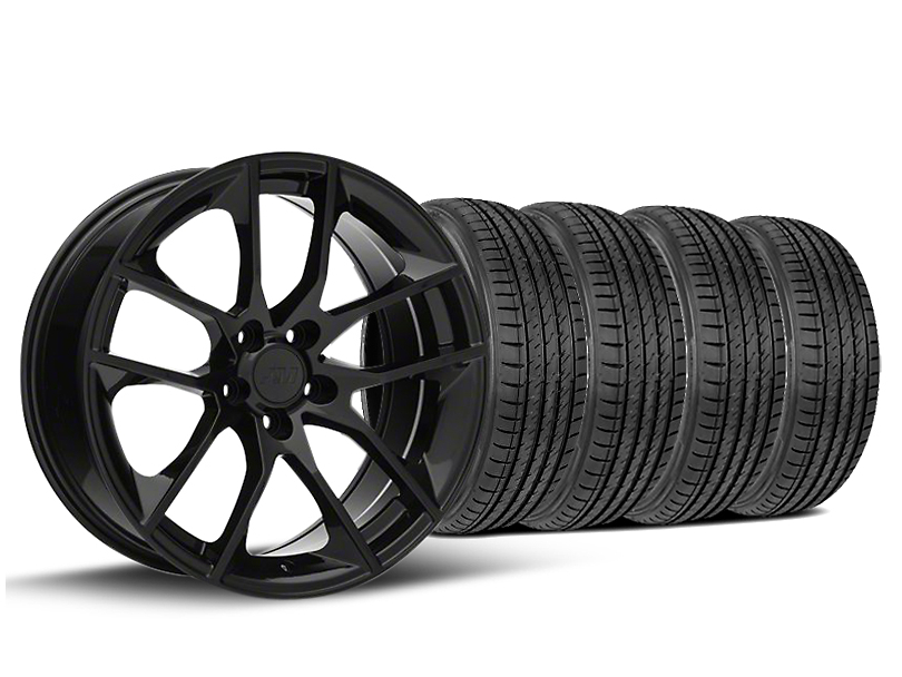 Staggered Magnetic Style Black Wheel & Sumitomo Tire Kit - 19x8.5/10 (15-19 GT, EcoBoost, V6)