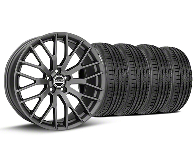 Staggered Performance Pack Style Charcoal Wheel & Sumitomo Tire Kit - 19x8.5/10 (15-18 All)