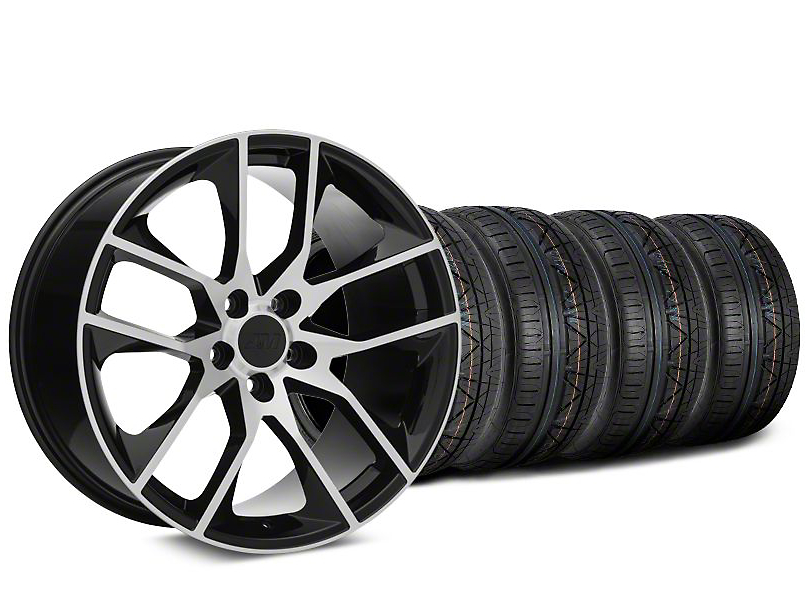 Staggered Magnetic Style Black Machined Wheel and NITTO INVO Tire Kit; 19x8.5/10 (15-20 GT, EcoBoost, V6)