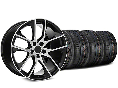 Staggered Magnetic Style Black Machined Wheel & NITTO INVO Tire Kit - 19x8.5/10 (15-18 GT, EcoBoost, V6)