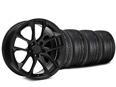 Staggered Magnetic Style Black Wheel & NITTO INVO Tire Kit - 19x8.5/10 (15-18 GT, EcoBoost, V6)