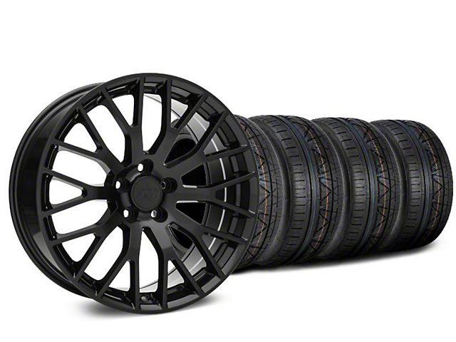 Staggered Performance Pack Style Black Wheel & NITTO INVO Tire Kit - 19x8.5/10 (15-18 GT, EcoBoost, V6)