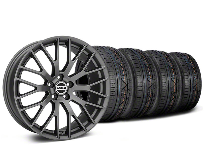 Staggered Performance Pack Style Charcoal Wheel & NITTO INVO Tire Kit - 19x8.5 (15-18 All)