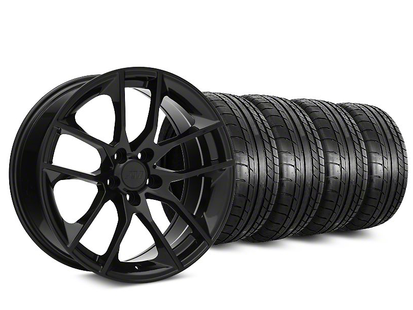 Staggered Magnetic Style Black Wheel & Mickey Thompson Tire Kit - 19x8.5/10 (15-18 GT, EcoBoost, V6)