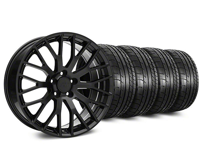 Staggered Performance Pack Style Black Wheel & Mickey Thompson Tire Kit - 19x8.5 (15-19 GT, EcoBoost, V6)