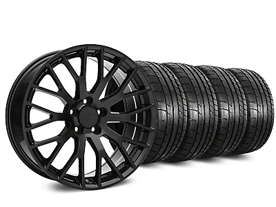 Staggered Performance Pack Style Black Wheel & Mickey Thompson Tire Kit - 19x8.5 (15-18 GT, EcoBoost, V6)