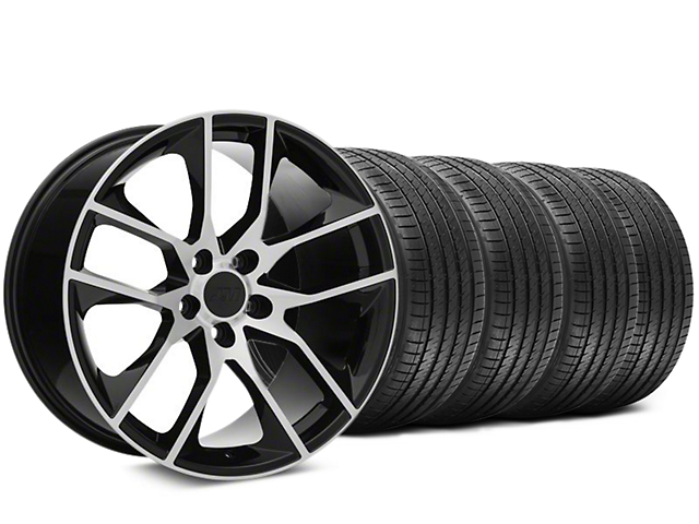 Staggered Magnetic Style Black Machined Wheel and Sumitomo Maximum Performance HTR Z5 Tire Kit; 20x8.5/10 (15-21 GT, EcoBoost, V6)