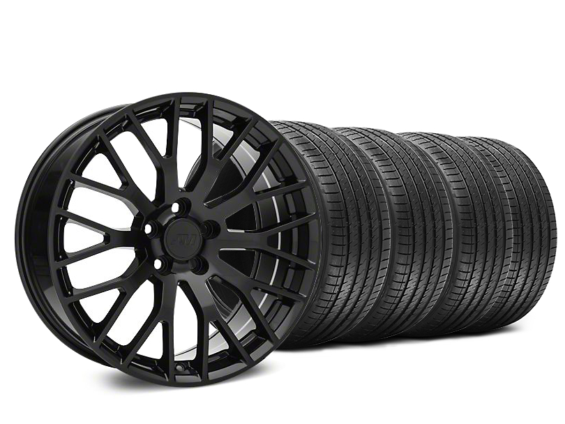 Staggered Performance Pack Style Black Wheel & Sumitomo Tire Kit - 20x8.5/10 (15-17 All)