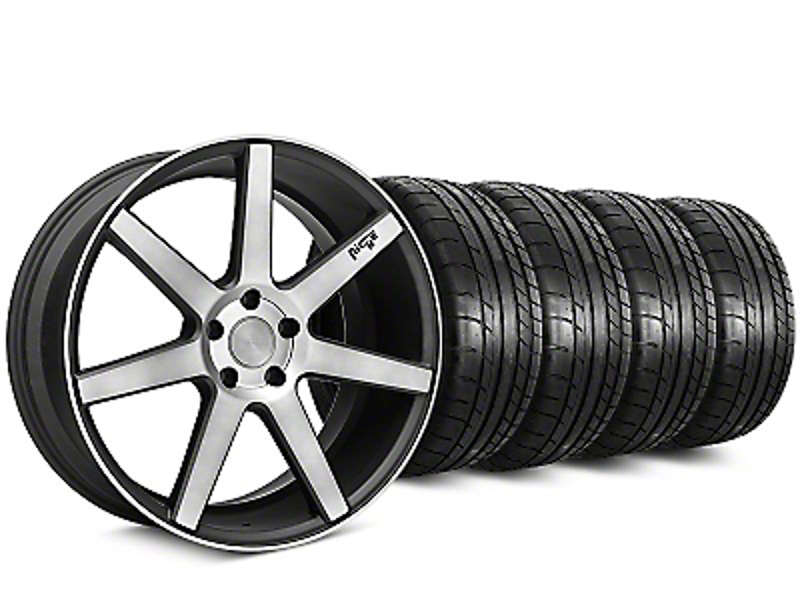 Staggered Niche Verona Black Double Dark Wheel & Mickey Thompson Tire Kit - 20x9/10 (15-19 All)