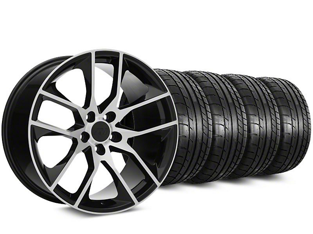 Staggered Magnetic Style Black Machined Wheel & Mickey Thompson Tire Kit - 20 in. - 2 Rear Options (15-18 GT, EcoBoost, V6)