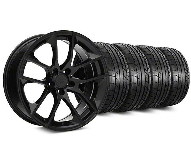 Staggered 2015 Mustang GT Style Black Wheel & Mickey Thompson Tire Kit - 20 in. - 2 Rear Options (15-17 All)