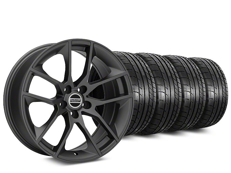 Staggered Magnetic Style Charcoal Wheel & Mickey Thompson Tire Kit - 20 in. - 2 Rear Options (15-19 GT, EcoBoost, V6)