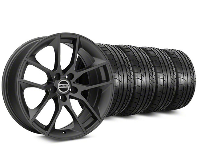 Staggered 2015 Mustang GT Style Charcoal Wheel & Mickey Thompson Tire Kit - 20 in. - 2 Rear Options (15-17 All)