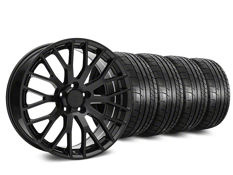 Staggered Performance Pack Style Black Wheel & Mickey Thompson Tire Kit - 20 in. - 2 Rear Options (15-19 All)
