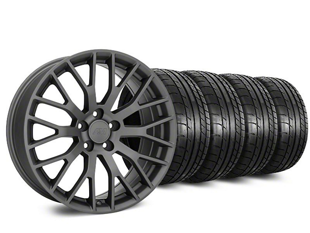 Staggered Performance Pack Style Charcoal Wheel & Mickey Thompson Tire Kit - 20 in. - 2 Rear Options (15-17 All)