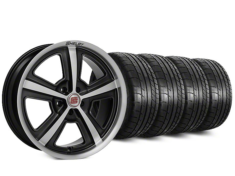 Staggered Shelby CS69 Hyper Black Wheel & Mickey Thompson Tire Kit - 20 in. - 2 Rear Options (15-17 All)