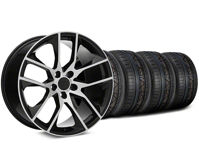 Staggered Magnetic Style Black Machined Wheel & NITTO INVO Tire Kit - 20x8.5/10 (15-20 GT, EcoBoost, V6)