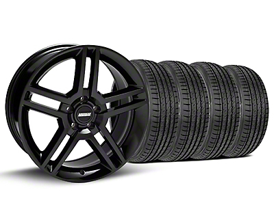 Staggered 2010 GT500 Style Black Wheel & Sumitomo Tire Kit - 19x8.5/10 (15-19 GT, EcoBoost, V6)