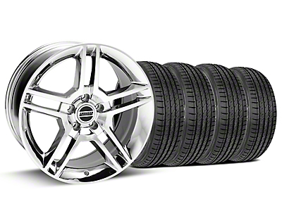 Staggered 2010 GT500 Style Chrome Wheel & Sumitomo Tire Kit - 19x8.5/10 (15-18 GT, EcoBoost, V6)