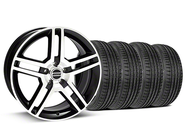 Staggered 2010 GT500 Style Black Machined Wheel & Sumitomo Tire Kit - 19x8.5/10 (15-17 GT, EcoBoost, V6)