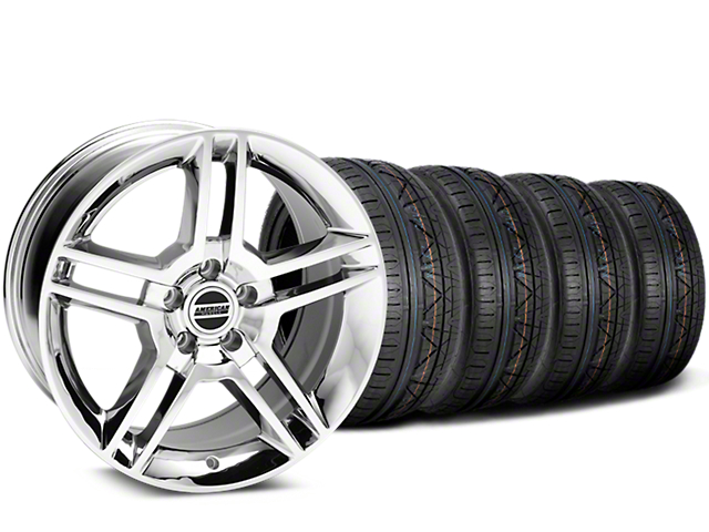 Staggered 2010 GT500 Style Chrome Wheel & NITTO INVO Tire Kit - 19x8.5/10 (15-17 All)