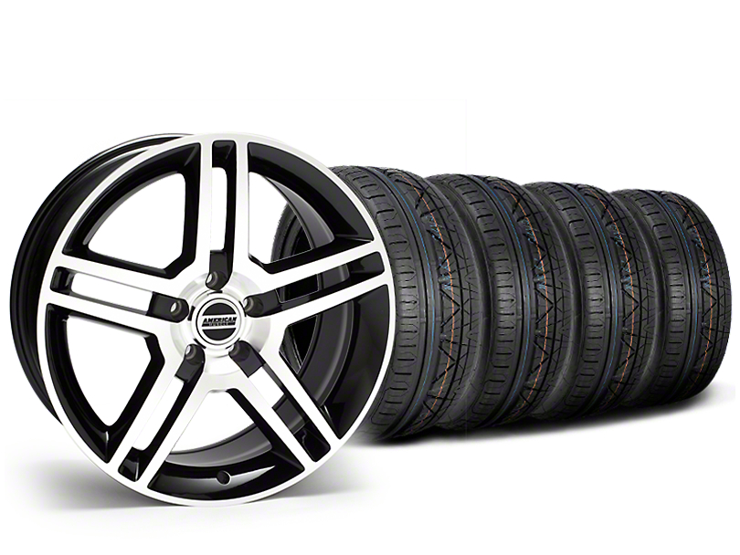 Staggered 2010 GT500 Style Black Machined Wheel & NITTO INVO Tire Kit - 19x8.5/10 (15-18 All)