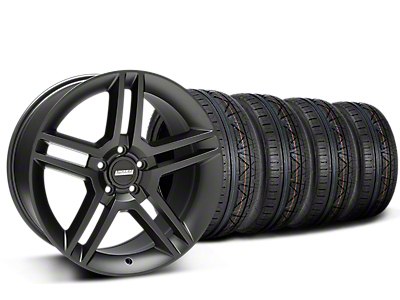 Staggered 2010 GT500 Style Matte Black Wheel & NITTO INVO Tire Kit - 19x8.5/10 (15-17 All)