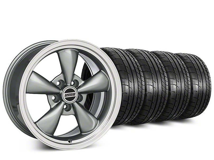 Staggered Deep Dish Bullitt Anthracite Wheel & Mickey Thompson Tire Kit - 20 in. - 2 Rear Options (15-18 EcoBoost, V6)
