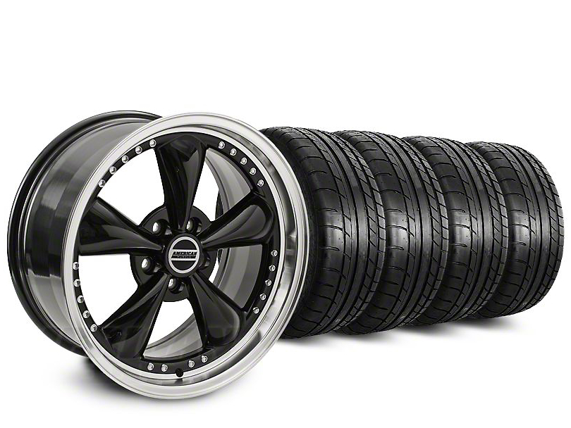 Staggered Bullitt Motorsport Black Wheel & Mickey Thompson Tire Kit - 20 in. - 2 Rear Options (15-17 V6, EcoBoost)