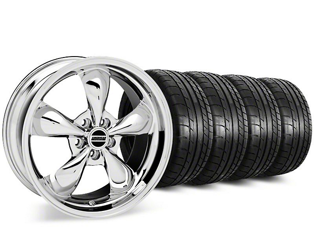 Staggered Deep Dish Bullitt Chrome Wheel and Mickey Thompson Tire Kit; 20-Inch (15-20 EcoBoost, V6)