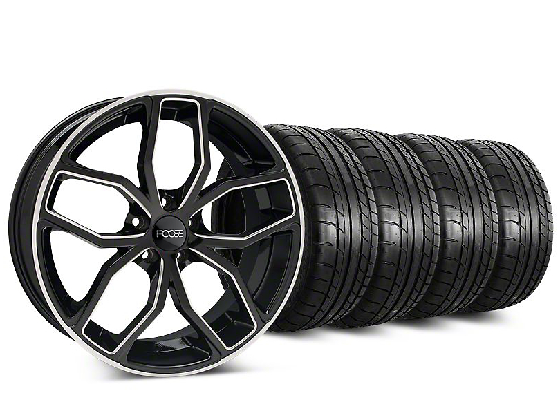 Staggered Foose Outcast Black Machined Wheel & Mickey Thompson Tire Kit - 20 in. - 2 Rear Options (15-20 GT, EcoBoost, V6)