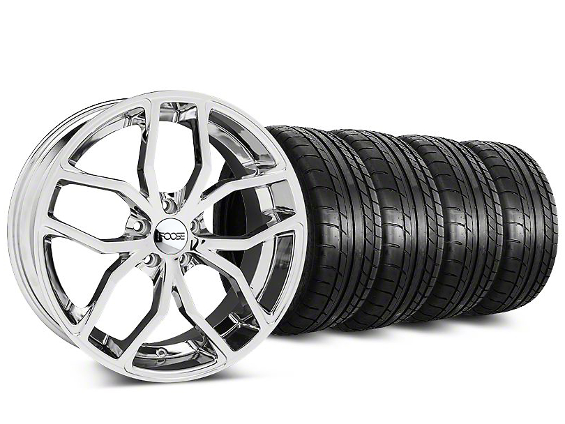 Staggered Foose Outcast Chrome Wheel & Mickey Thompson Tire Kit - 20 in. - 2 Rear Options (15-18 All)