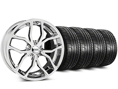 Staggered Foose Outcast Chrome Wheel & Mickey Thompson Tire Kit - 20 in. - 2 Rear Options (15-19 All)