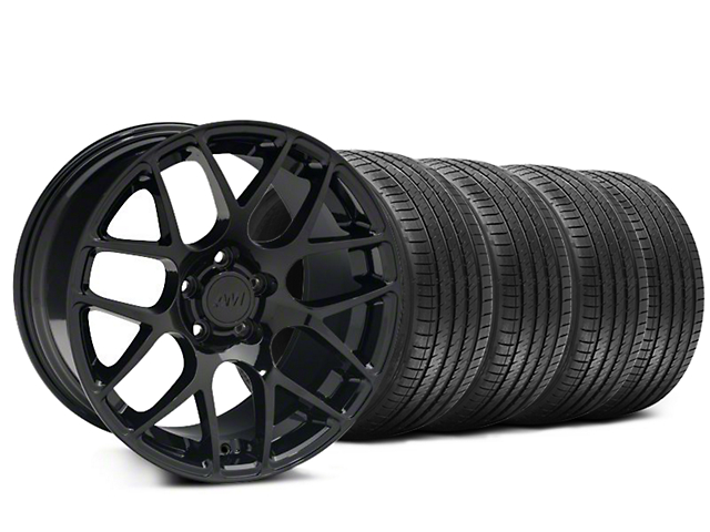 Staggered AMR Black Wheel and Sumitomo Maximum Performance HTR Z5 Tire Kit; 20x8.5/10 (15-20 GT, EcoBoost, V6)