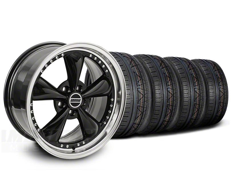 Staggered Bullitt Motorsport Black Wheel & NITTO INVO Tire Kit - 20x8.5/10 (15-18 EcoBoost, V6)
