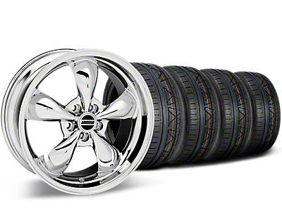 Staggered Deep Dish Bullitt Chrome Wheel & NITTO INVO Tire Kit - 20x8.5/10 (15-17 All)