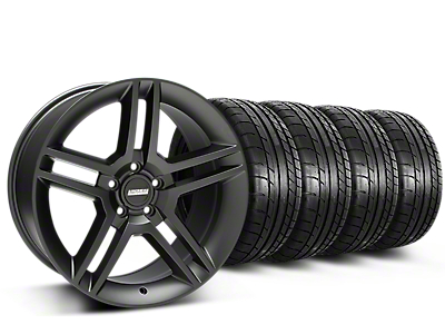 Staggered 2010 GT500 Style Matte Black Wheel & Mickey Thompson Tire Kit - 19x8.5/10 (15-17 All)