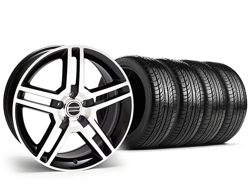Staggered 2010 GT500 Style Black Machined Wheel & Pirelli Tire Kit - 19x8.5/10 (15-18 All)