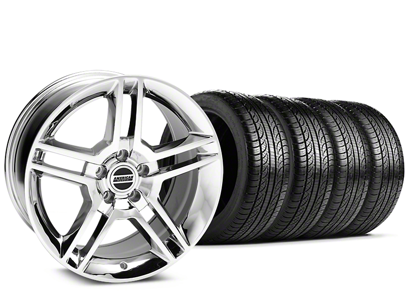 Staggered 2010 GT500 Style Chrome Wheel & Pirelli Tire Kit - 19x8.5/10 (15-18 All)